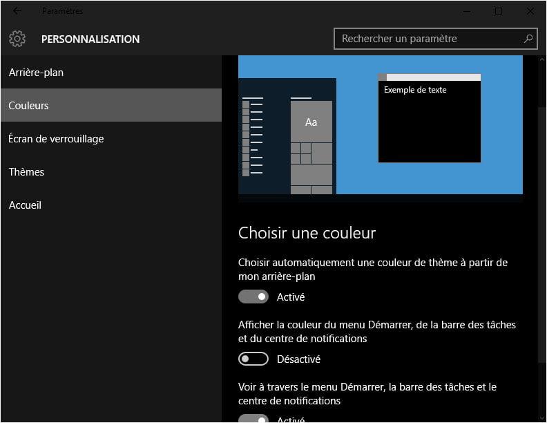 parametres-couleurs-sombre Activer le thème sombre caché de Windows 10