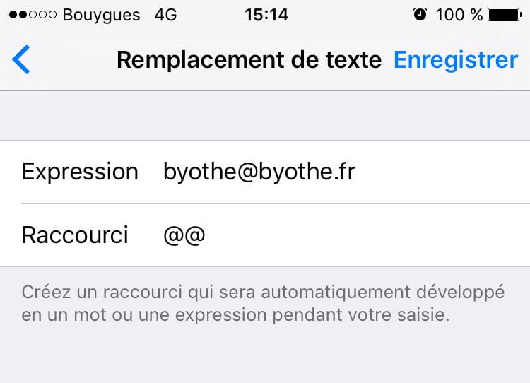remplacement-de-texte-ios Astuce : simplifier la manière dont vous tapez votre adresse mail sur iOS
