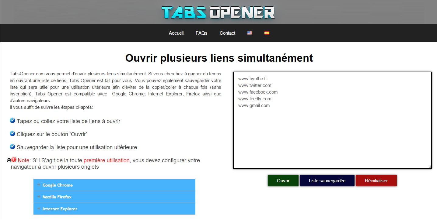 tabsopener TabsOpener vous permet d'ouvrir plusieurs liens en un seul clic sur votre navigateur web