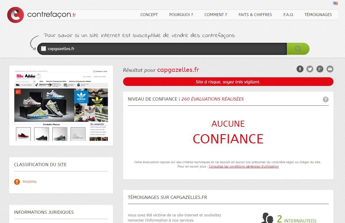 contrefacon-capgazelle Contrefaçon.fr : vérifiez la fiabilité des sites marchands