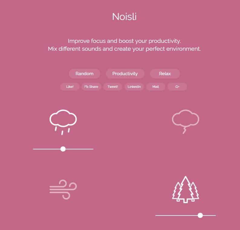 noisli-son Noisli : créez un fond sonore pour vous relaxer ou être plus productif