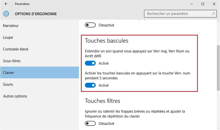 touches-bascules-windows10 Etre alerté lorsque vous activez le verrouillage des majuscules sous Windows