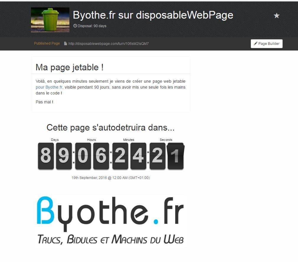 disposablewebpage Créez une page web jetable sans aucune connaissance en programmation