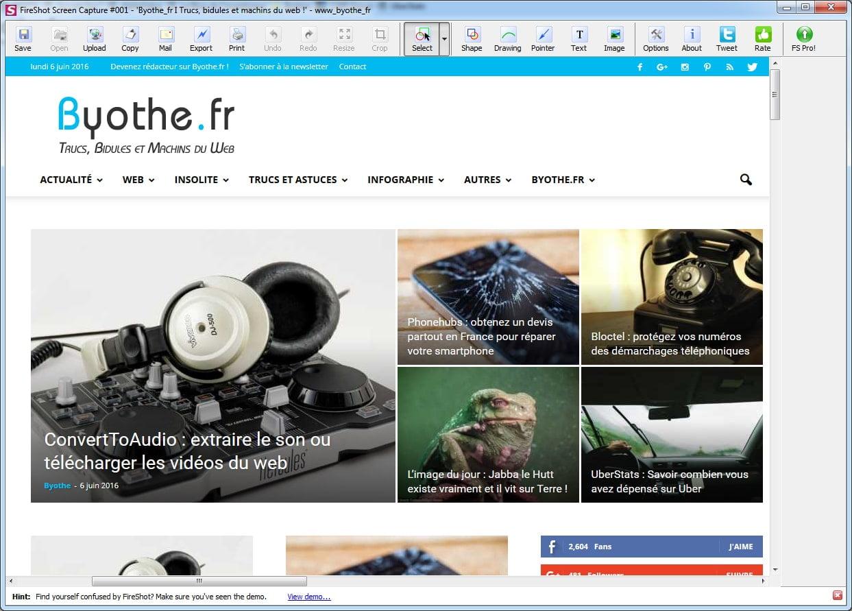 fireshot-editeur Une extension pour faire une capture d'écran d'une page web entière