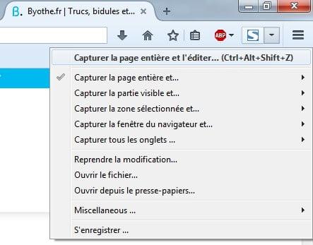 fireshot-menu Une extension pour faire une capture d'écran d'une page web entière