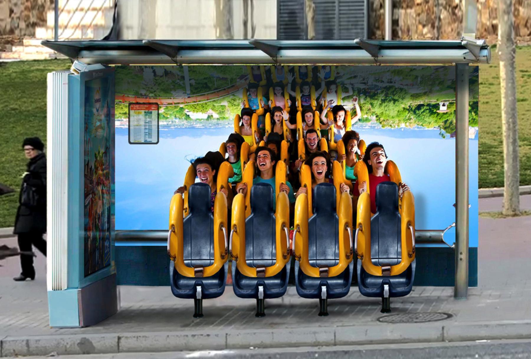 port-aventura-abribus L'image du jour : un parc d'attractions détourne un abribus pour faire sa pub