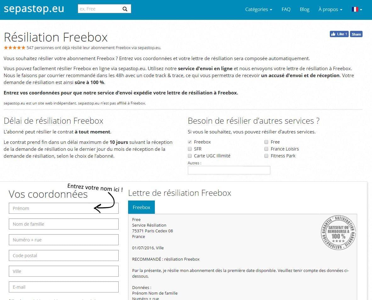 sepastop-resiliation-freebox Sepastop facilite la résiliation de vos services et abonnements !