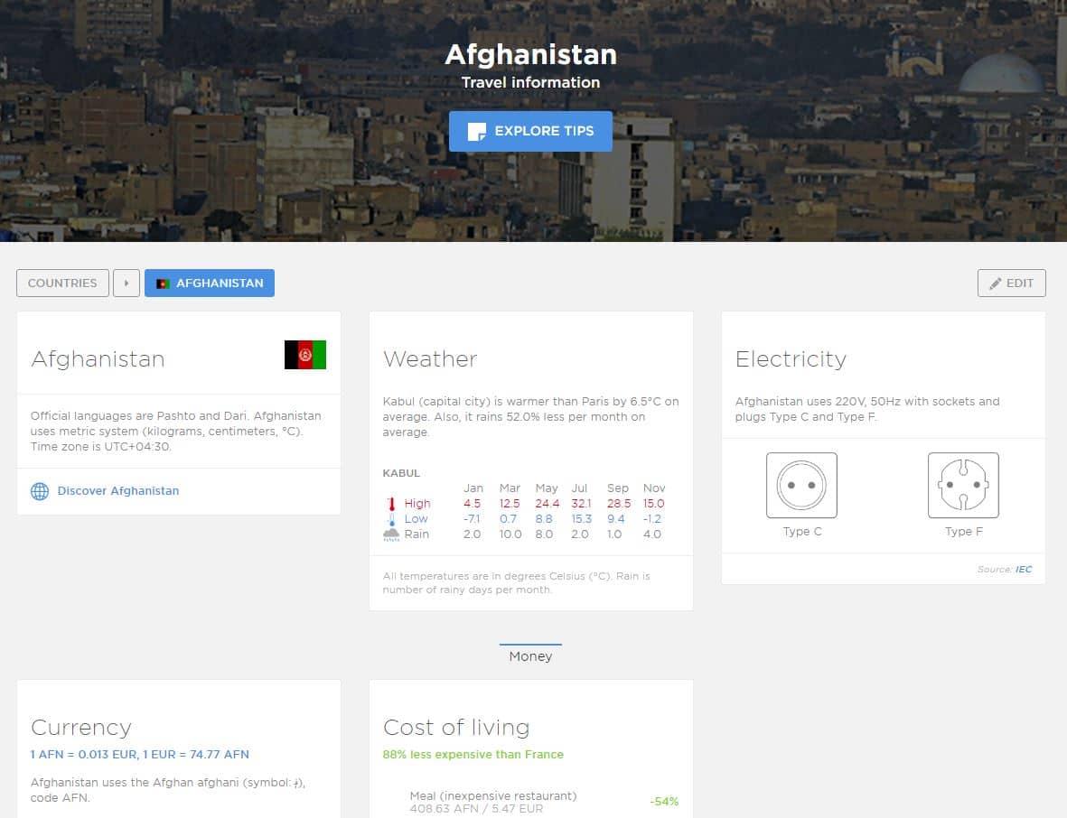 basetrip-ecran BaseTrip : toutes les informations nécessaires avant de partir dans un pays !