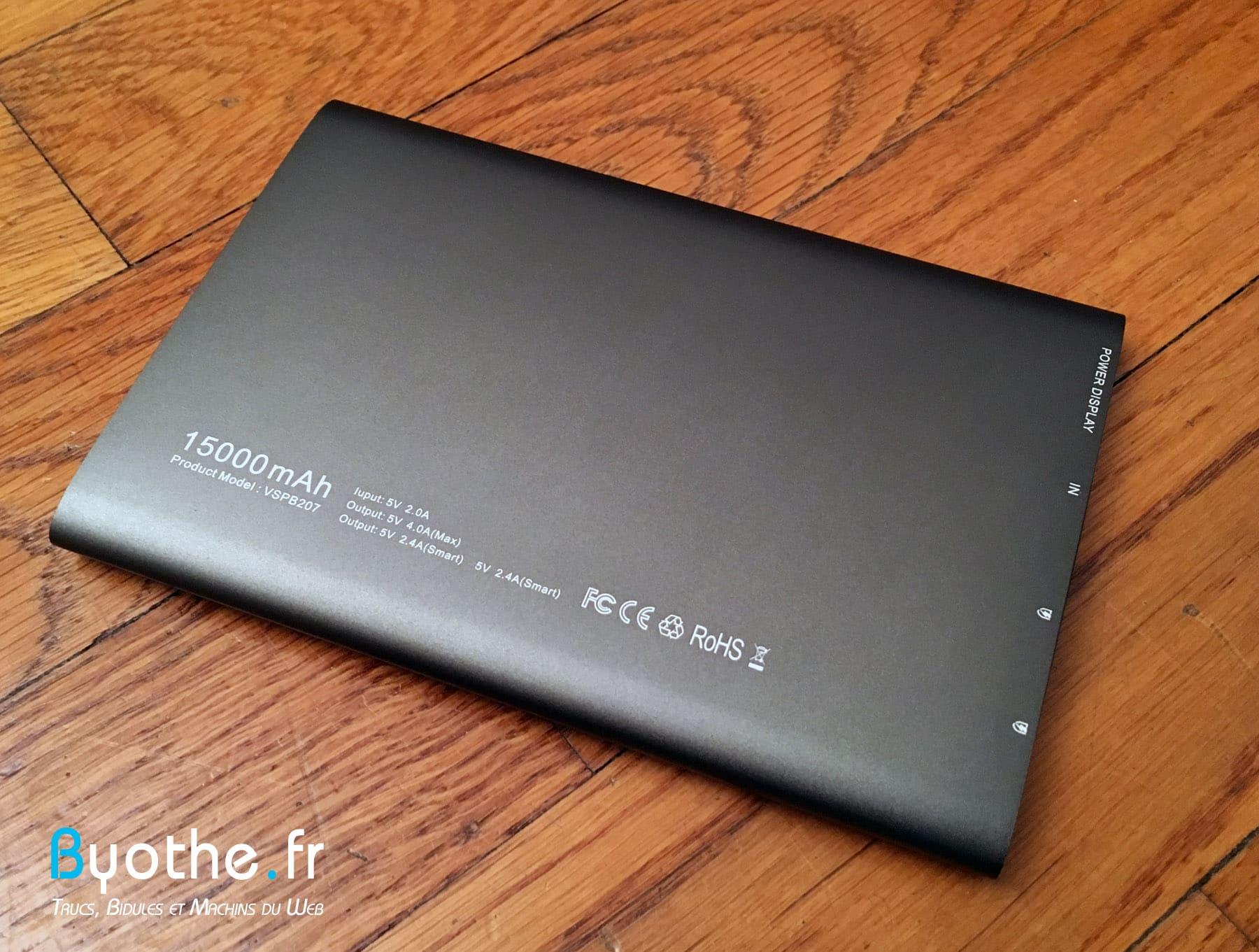 batterie-vinsic-10 Test de la batterie externe 15000 mAh de Vinsic