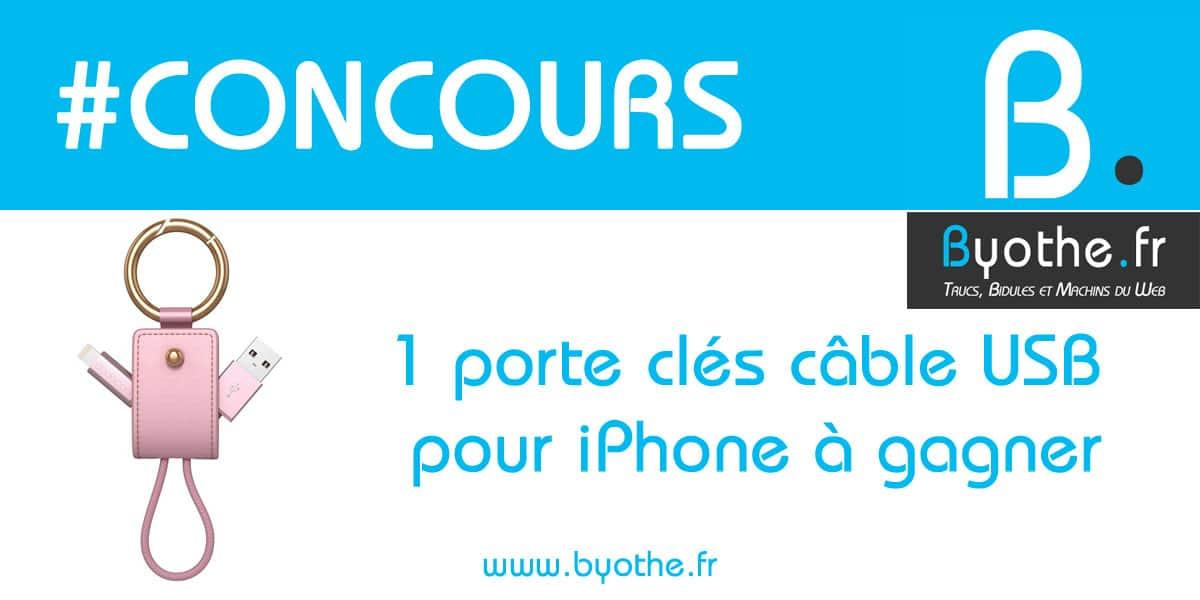concours-porte-cle-cable-usb #Concours : un porte-clés câble USB pour iPhone à gagner !
