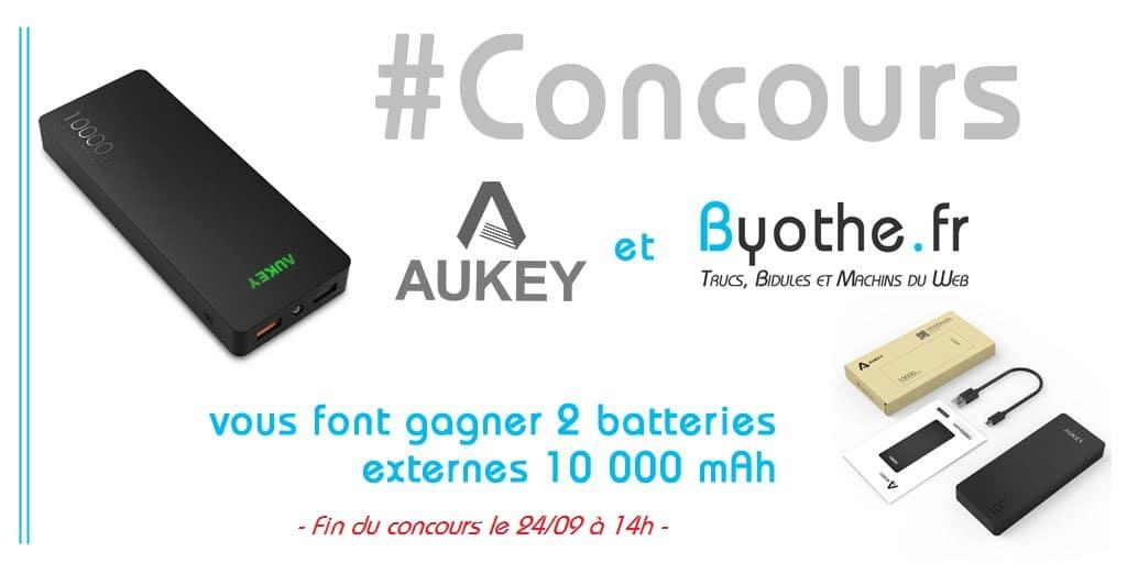 concours-twitter-aukey Concours Twitter : 2 batteries externes Aukey 10 000 mAh à gagner