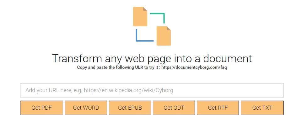 document-cyborg Transformer n'importe quelle page web en fichier PDF, Word, Ebook...