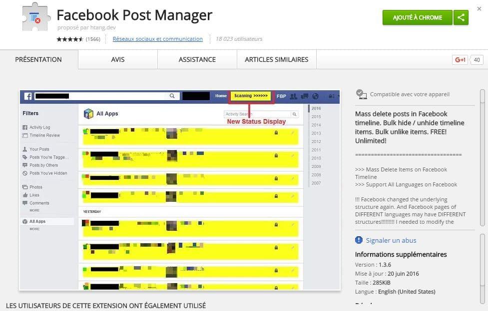 facebook-post-manager-1 Facebook Post Manager, une extension Chrome pour supprimer facilement vos vieux posts Facebook