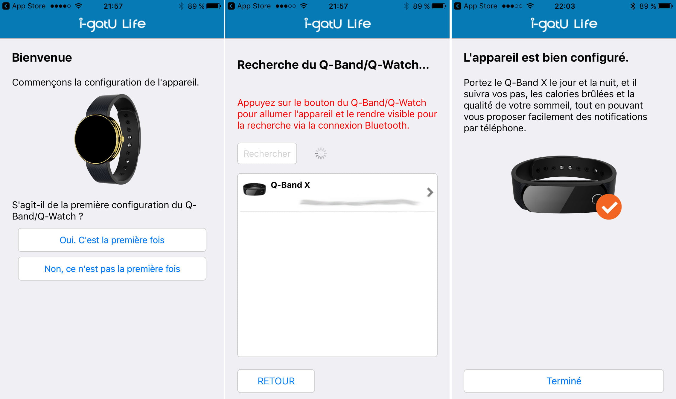i-gotU-q-band-x-configuration Test du bracelet connecté i-gotU Q-Band X