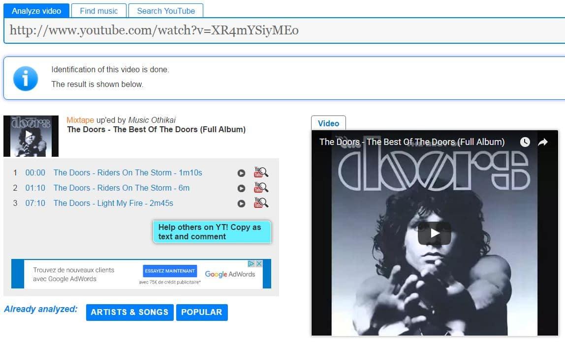 moomash-resultat MooMa.sh : identifiez les musiques présentes dans des vidéos YouTube