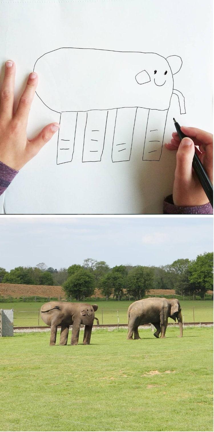things-i-have-drawn-elephant Un papa donne vie aux dessins de son fils de 6 ans et c'est perturbant !