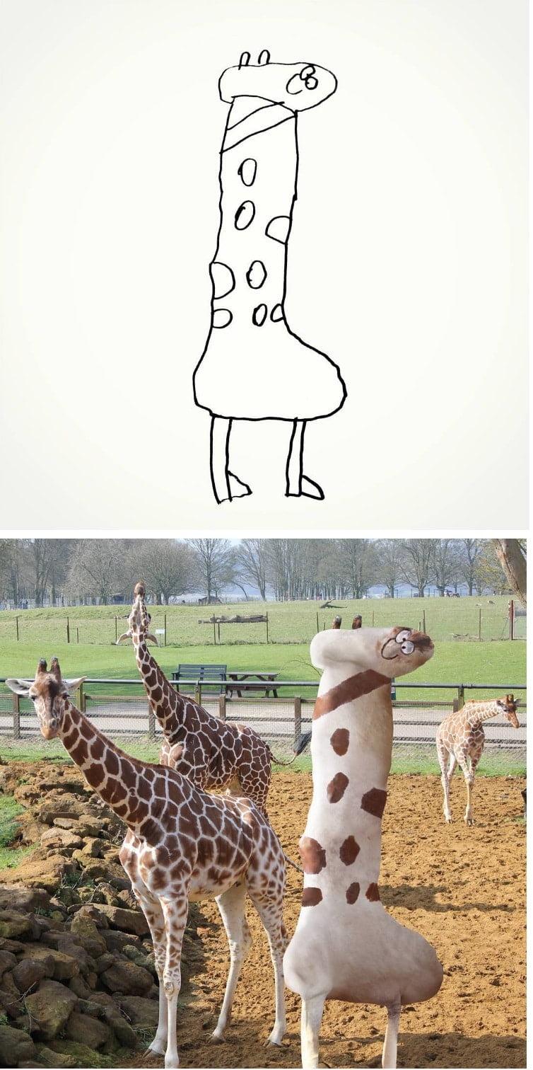 things-i-have-drawn-girafe Un papa donne vie aux dessins de son fils de 6 ans et c'est perturbant !