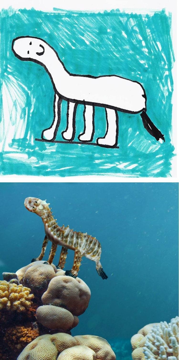 things-i-have-drawn-hippocampe Un papa donne vie aux dessins de son fils de 6 ans et c'est perturbant !