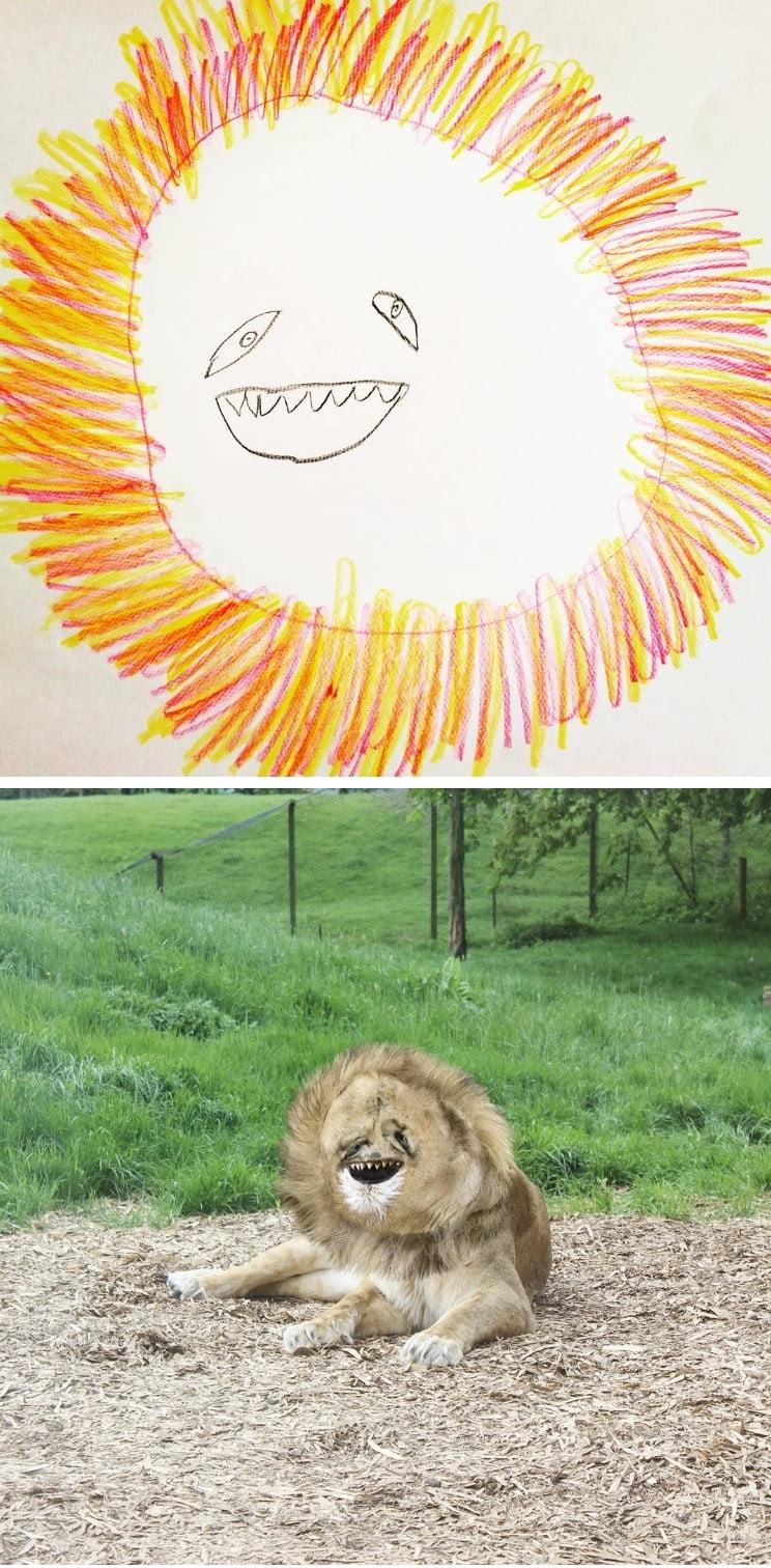 things-i-have-drawn-lion Un papa donne vie aux dessins de son fils de 6 ans et c'est perturbant !