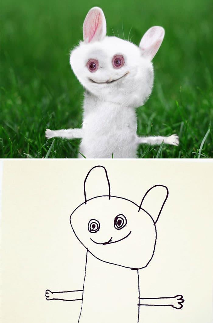 things-i-have-drawn-rabbit2 Un papa donne vie aux dessins de son fils de 6 ans et c'est perturbant !
