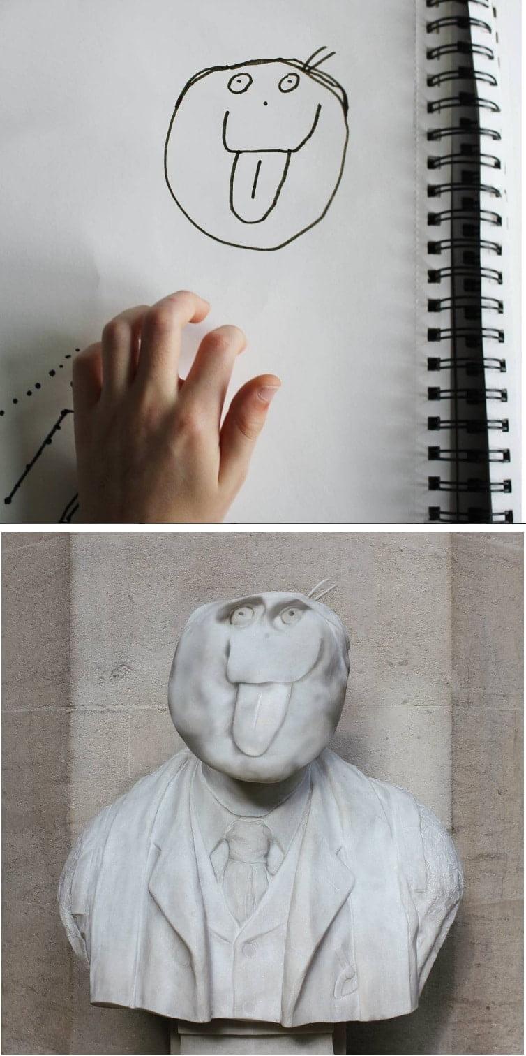 things-i-have-drawn-statue Un papa donne vie aux dessins de son fils de 6 ans et c'est perturbant !
