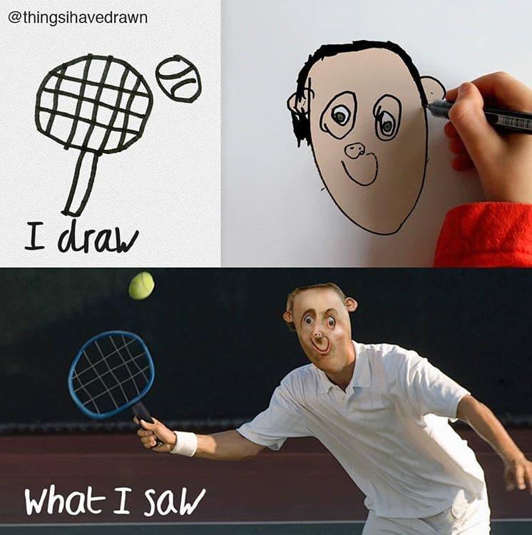 things-i-have-drawn-tennis Un papa donne vie aux dessins de son fils de 6 ans et c'est perturbant !
