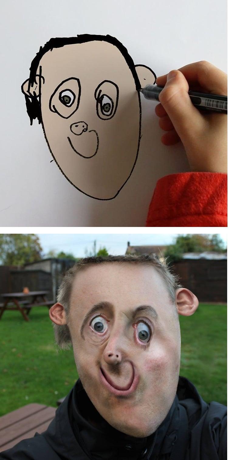 things-i-have-drawn-tete Un papa donne vie aux dessins de son fils de 6 ans et c'est perturbant !