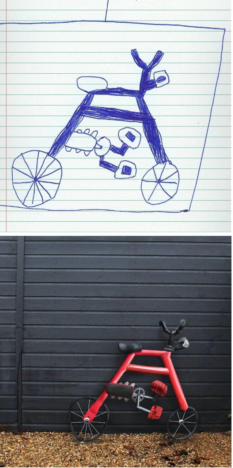 things-i-have-drawn-velo Un papa donne vie aux dessins de son fils de 6 ans et c'est perturbant !