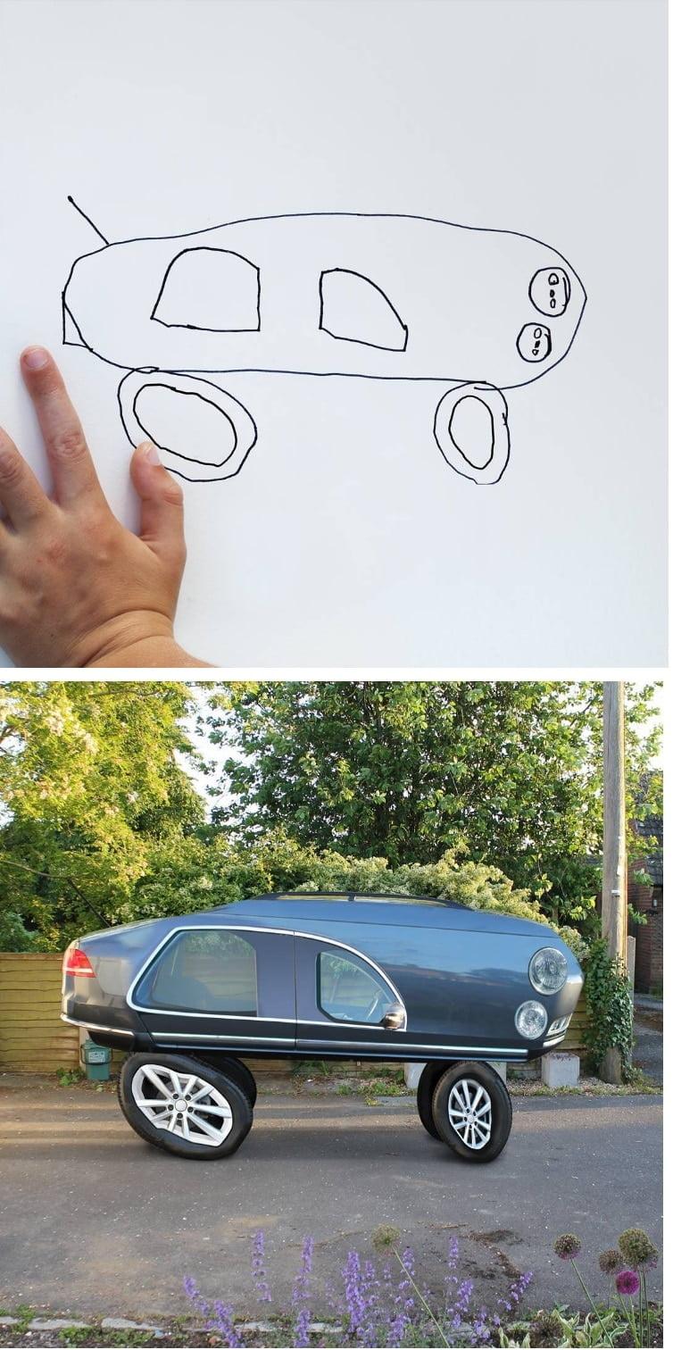 things-i-have-drawn-voiture Un papa donne vie aux dessins de son fils de 6 ans et c'est perturbant !