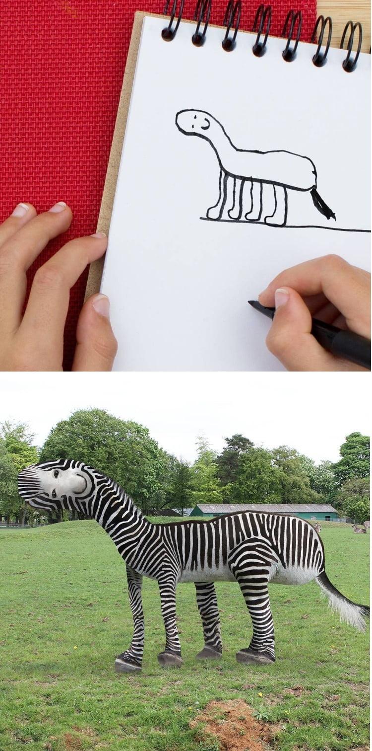 things-i-have-drawn-zebre Un papa donne vie aux dessins de son fils de 6 ans et c'est perturbant !