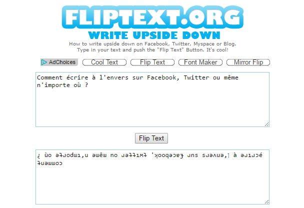 flip-texte Comment écrire à l'envers sur Facebook, Twitter ou même n'importe où ?