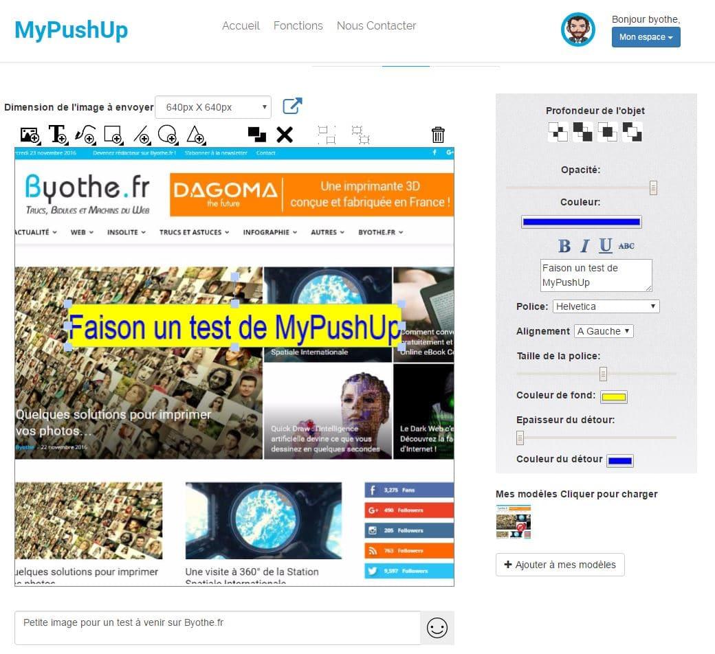 test-mypushup Publier une photo sur Instagram depuis son ordinateur avec MyPushUp