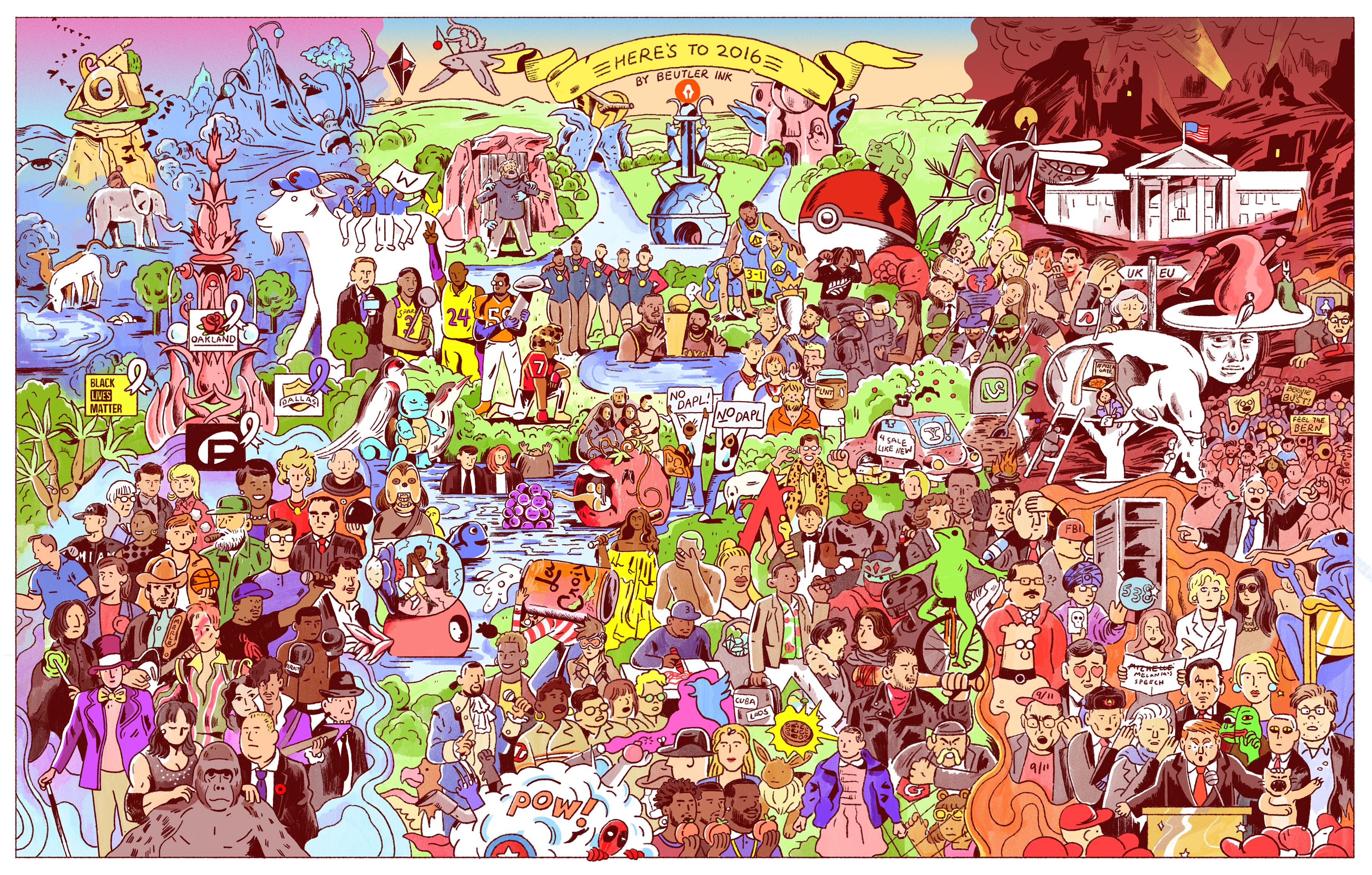 BeutlerInk_Heresto2016 127 choses qui se sont passées en 2016 en une seule image !