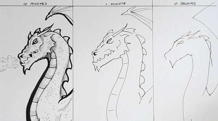 speed-drawing-challenge-10 Des artistes réalisent le même dessin en 10 minutes, 1 minutes et 10 secondes !