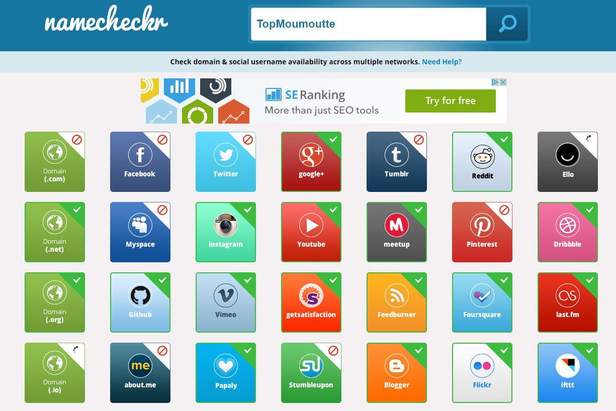 namecheckr Namecheckr : vérifier la disponibilité d'un pseudo sur différents réseaux sociaux