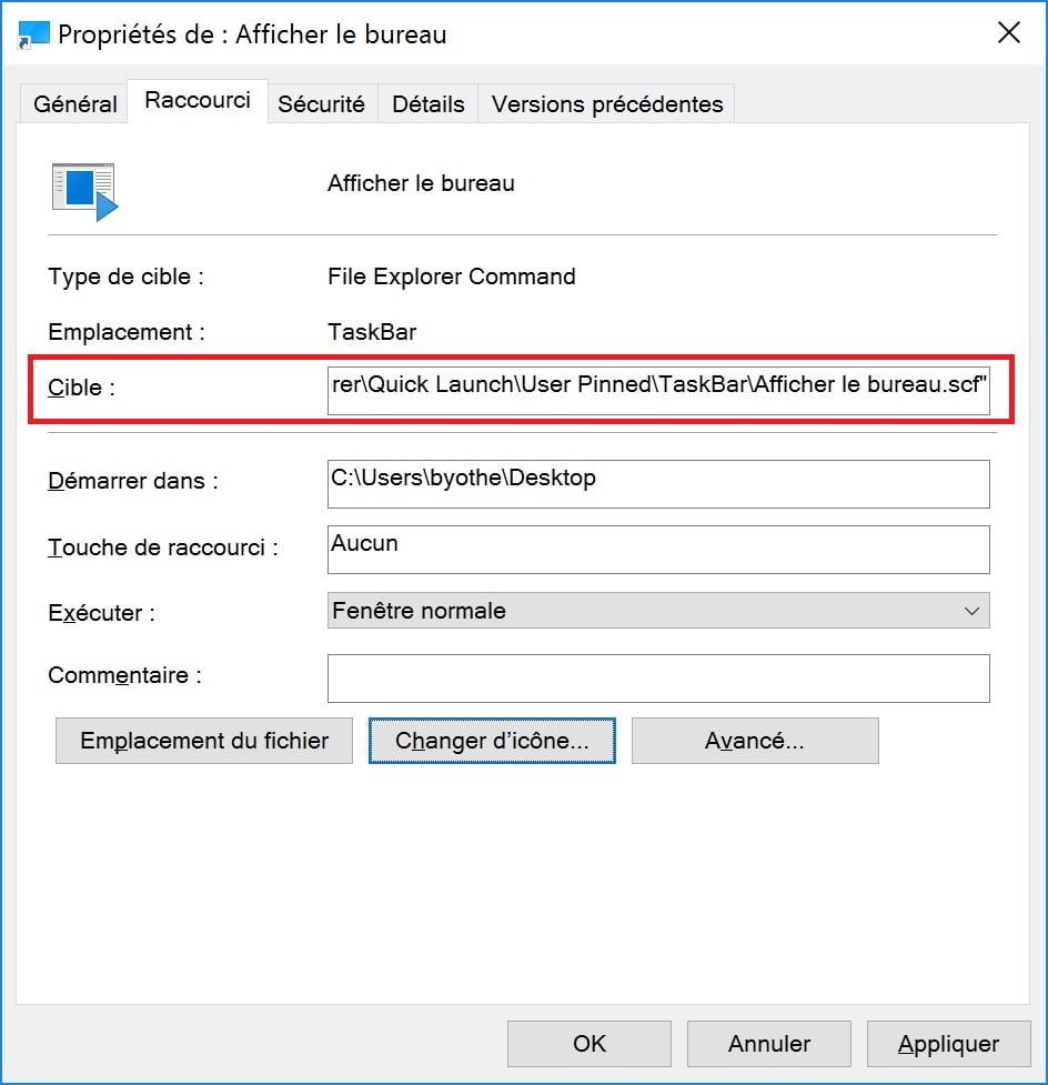 """afficher-le-bureau-etape8 Retrouver le bouton """"Afficher le bureau"""" des anciennes versions de Windows"""