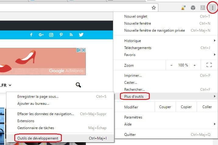 chrome-outil-developpement Faire une capture d'écran dans Google Chrome sans extension