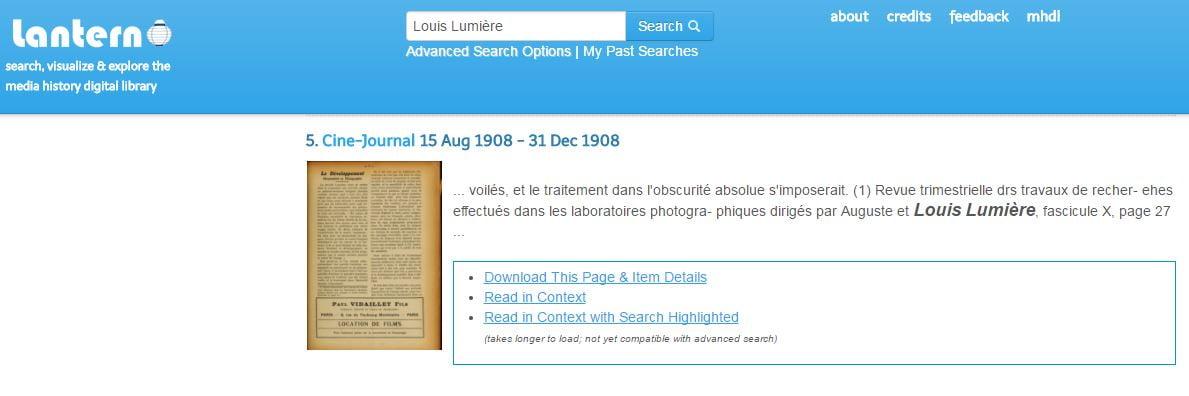 lantern-cinema-recherche-lumiere Lantern, accédez en ligne à des milliers de revues anciennes sur le cinéma