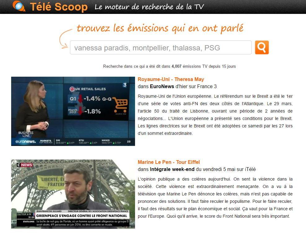 tele-scoop-interface Télé Scoop : un moteur de recherche de mots clés dans les émissions de TV