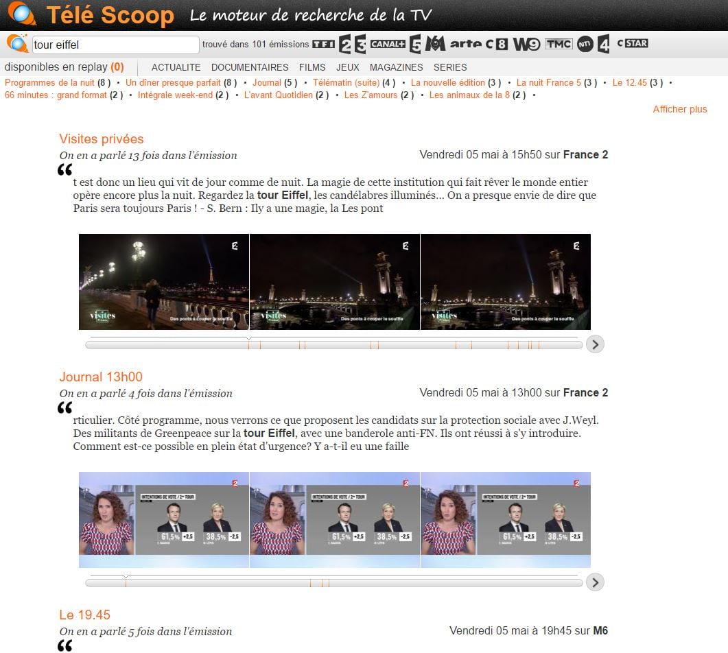 tele-scoop-resultat Télé Scoop : un moteur de recherche de mots clés dans les émissions de TV