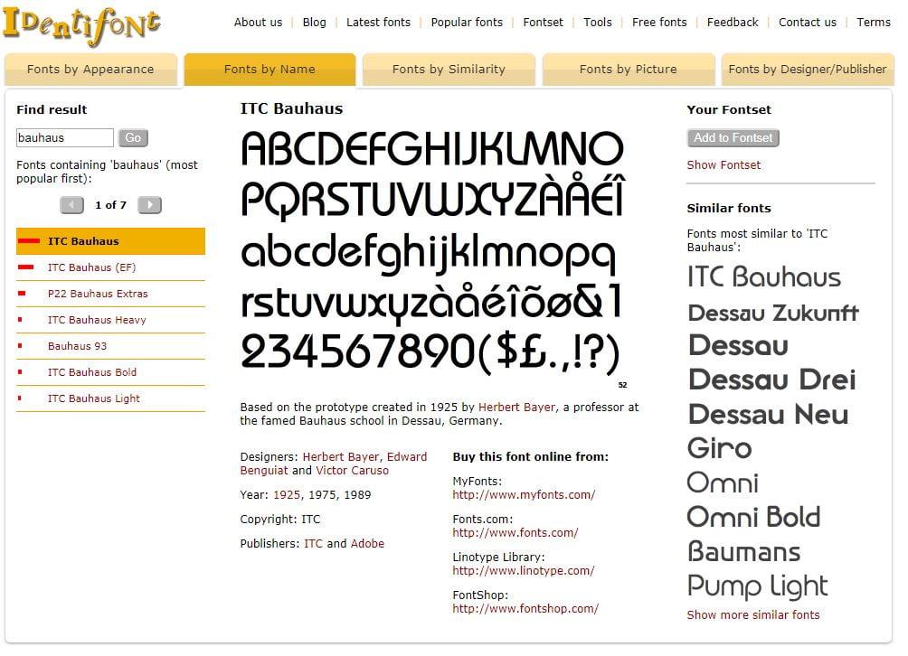 identifont-by-name Identifont : une suite d'outils en ligne pour trouver et identifier des polices