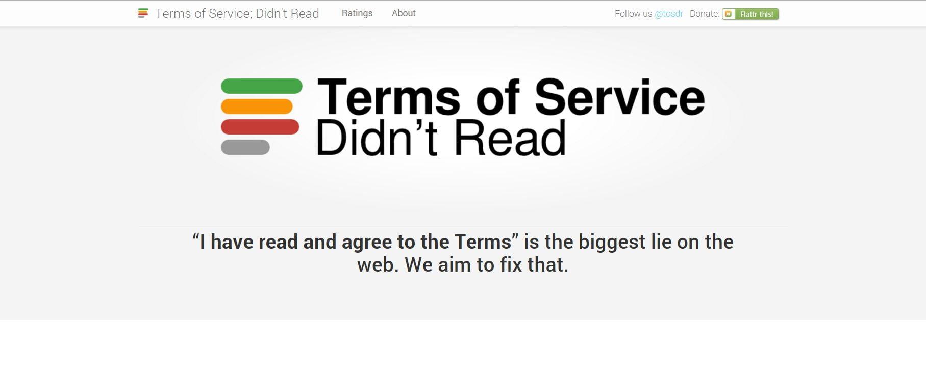 terms-of-service-didnt-read Ne vous embêtez plus à lire les conditions d'utilisation, ce site vous les résume !