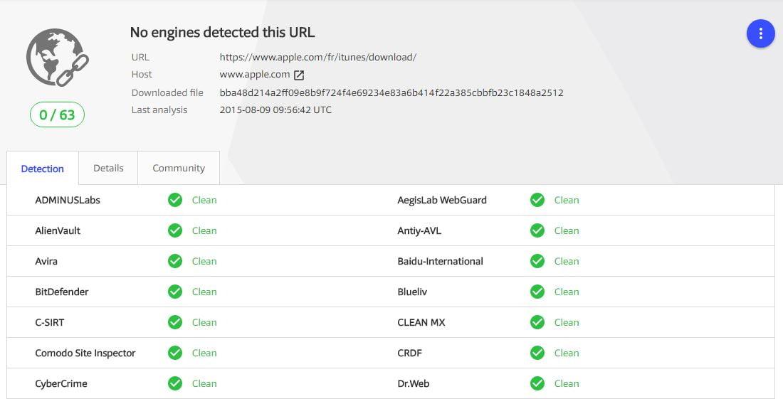 virustotal-scanresult Comment s'assurer qu'un fichier est sécurisé avant de le télécharger ?
