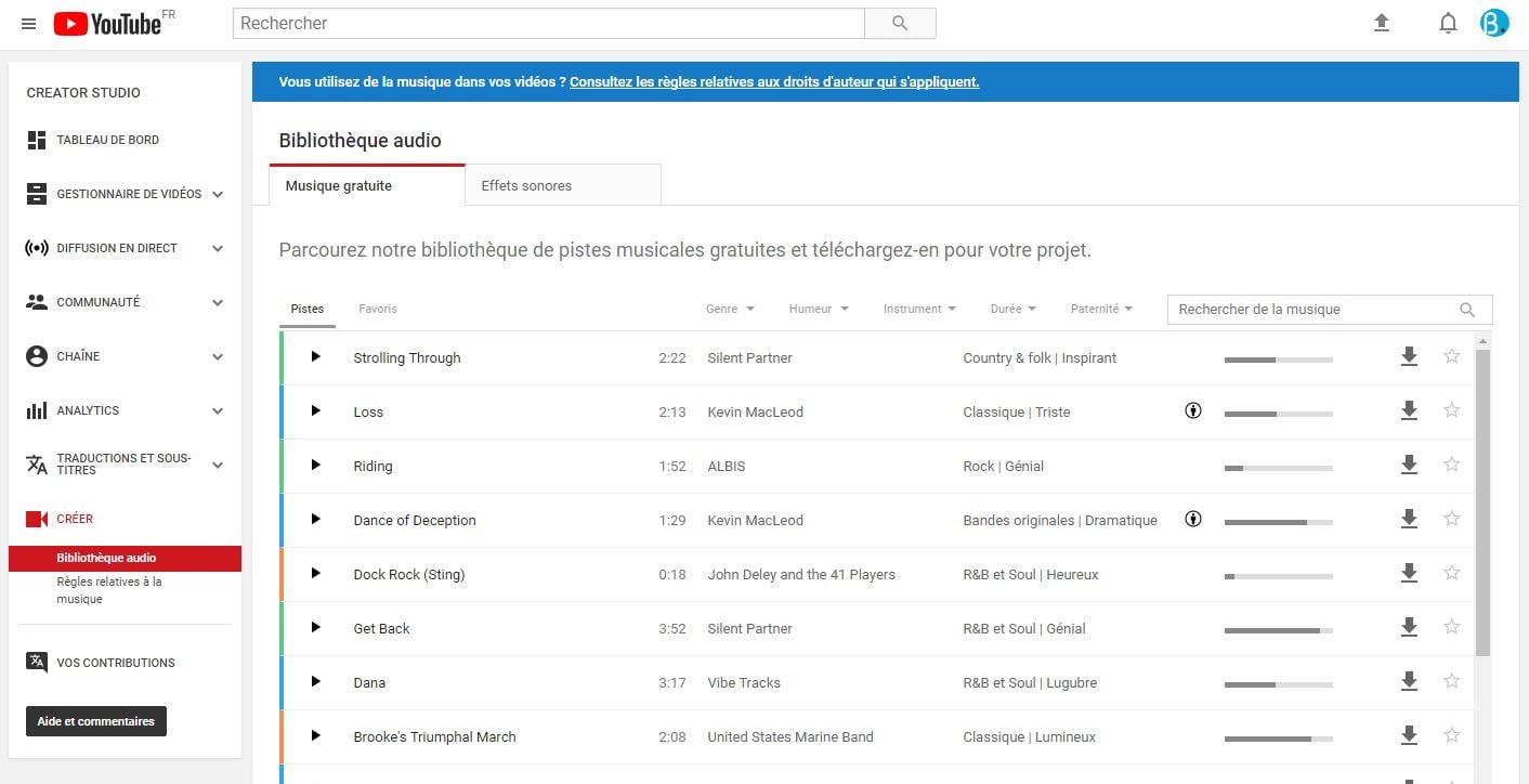 youtube-bibliotheque-audio Téléchargez légalement de la musique gratuite sur YouTube