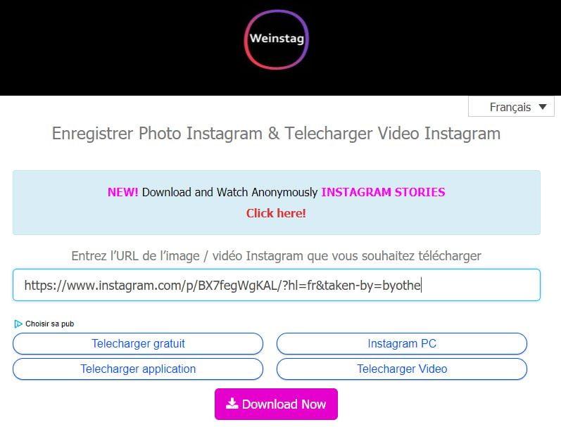 weinstag Télécharger des photos, des vidéos et des Stories Instagram depuis votre PC