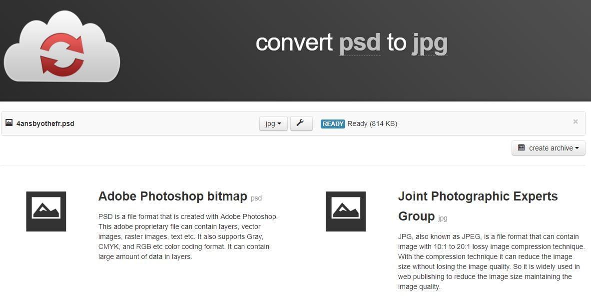 cloudconvert-psd CloudConvert : l'outil universel, en ligne et gratuit de conversion de formats de fichiers en tous genres !