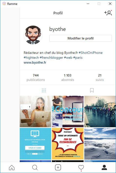ramme-instagram-byothe Ramme : un client Instagram gratuit pour votre ordinateur !