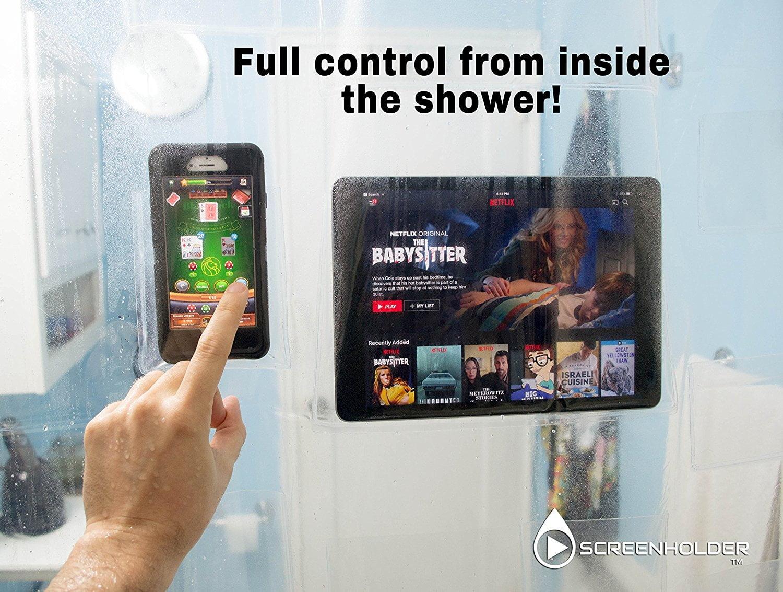 rideau-douche-screenholder3 L'image du jour : le rideau de douche transparent avec pochettes pour tablettes