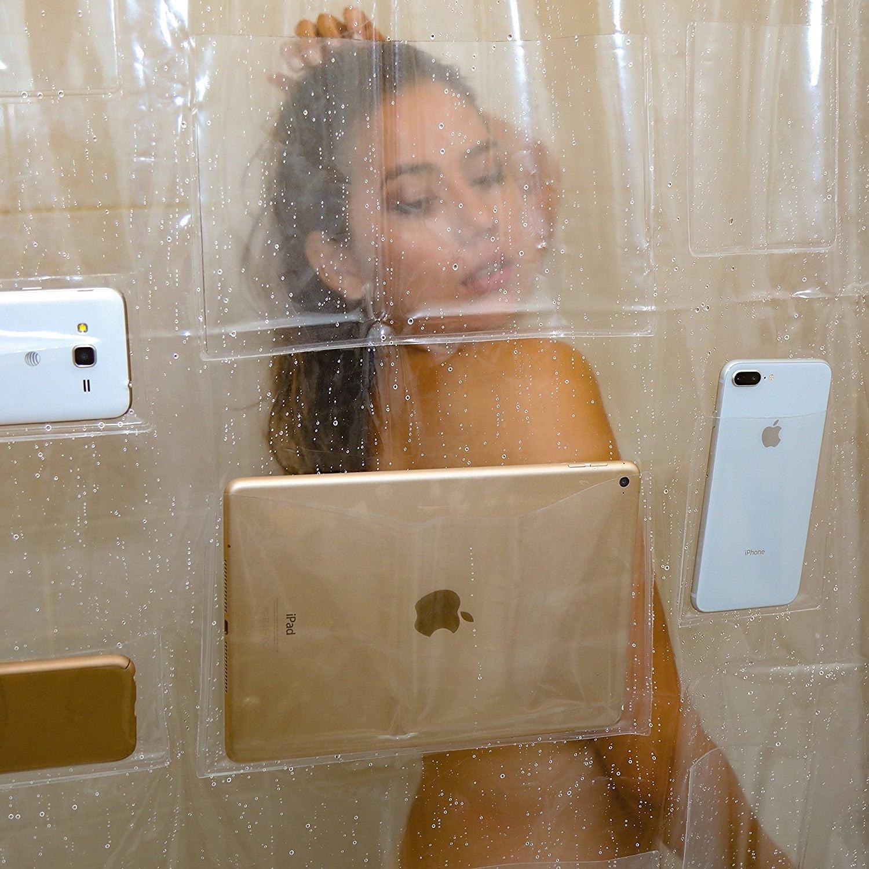 rideau-douche-screenholder4 L'image du jour : le rideau de douche transparent avec pochettes pour tablettes
