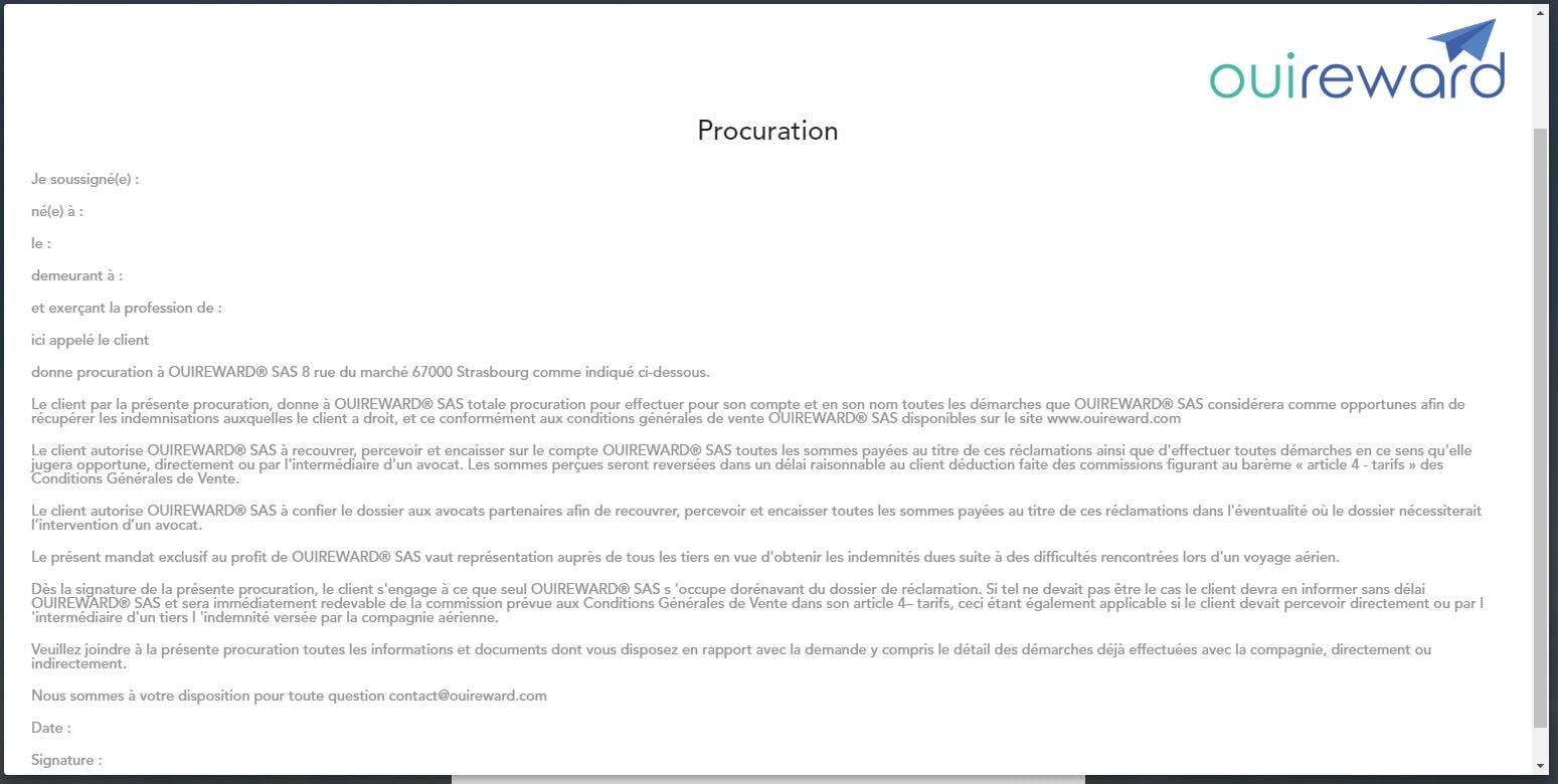 ouireward-procuration OuiReward : obtenir facilement une indemnisation en cas de retard ou d'annulation de votre vol